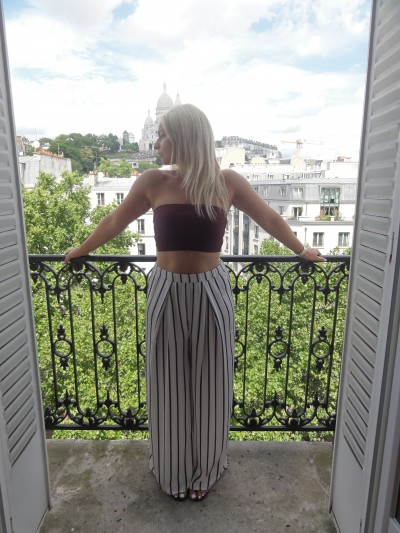 Satin trousers - H&M Crop Bandeau Top - Gina Tricot Sandals - Ralph Lauren  Watch - Michael Kors